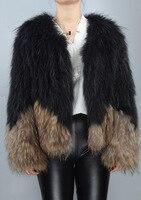 Зимние повседневное модные женские туфли реального енота Мех животных вязаное пальто куртка с рукавами RRJ0001
