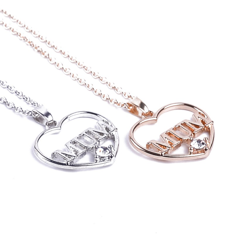 Women Necklace Heart Crystal Rhinestone Pendant Necklaces MOM Pattern As A Gift For Mother's Day 2018 New image