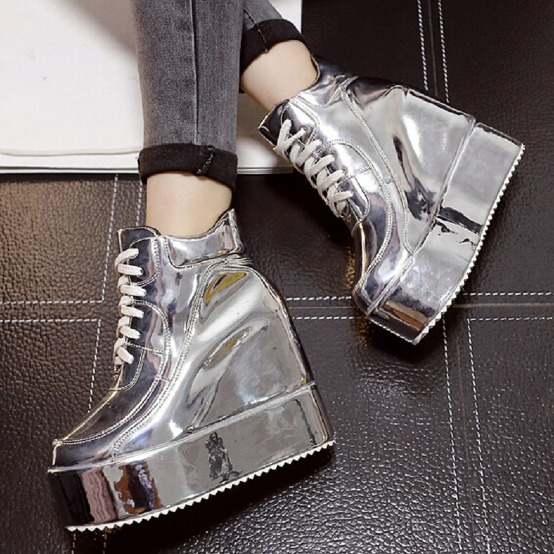 Fashion Metal Silver Gold Female Boots Elevator Wedges Platform Lacing Martin Women Height Increasing Shoes - Love shoes WOMEN+MEN store