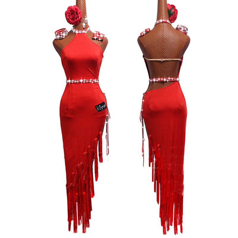 New Hot Sale Latin Dance Dresses For Women Red Club Party Dancer Singer Performing Clothes Fringe Tassel Red Dress DM1041