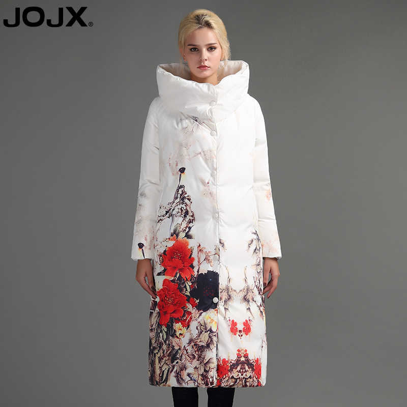 JOJX с цветочным принтом, плотные парки, женская зимняя куртка 2019, длинное Брендовое Женское пальто, зимний пуховик, модные теплые женские пальто