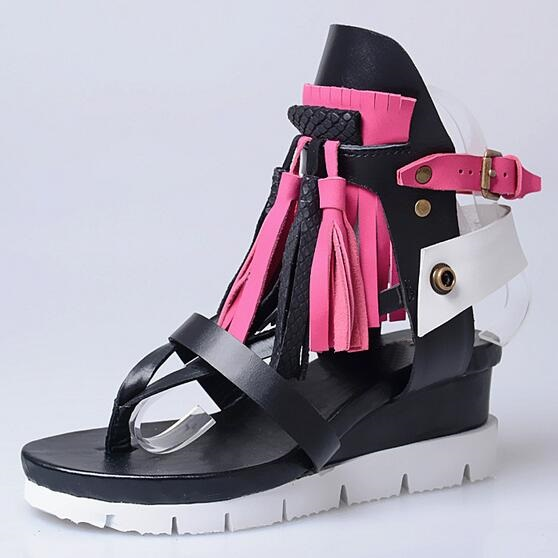 Bohemia Designer Women Leather Summer Sandals Casual Platform Wedge Shoes Woman Fringed Gladiator Sandal Ladies Mixed Colors timetang 2017 leather gladiator sandals comfort creepers platform casual shoes woman summer style mother women shoes xwd5583