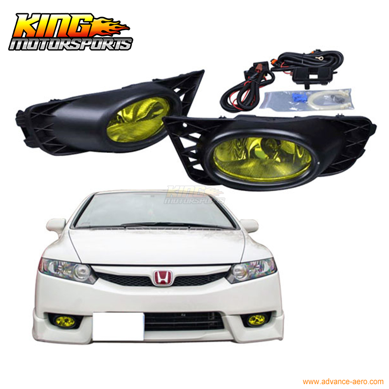 For 2009-2011 Honda Civic Sedan 4Door Yellow Lens Fog Lights Pair OE Style USA Domestic Free Shipping Hot Selling fit for 02 08 toyota solara camry corolla oe fog light smoke lamps wiring kit included usa domestic free shipping hot selling