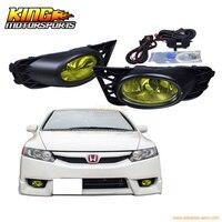 For 2009 2011 Honda Civic Sedan 4Door Yellow Lens Fog Lights Pair OE Style USA Domestic