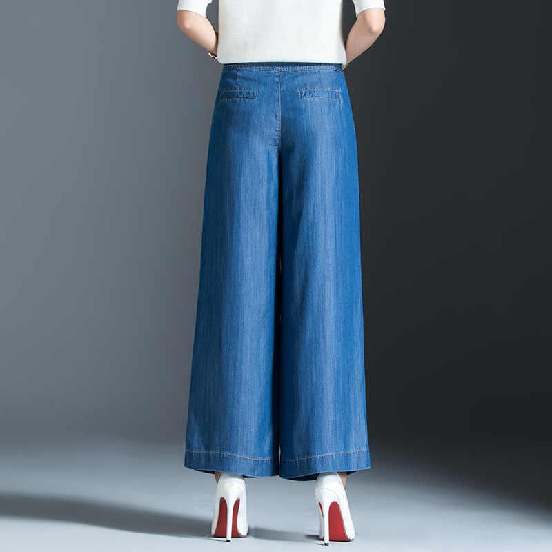 2019 nieuwe vrouwen cropped jeans voor zomer enkellange dunne geplooide losse stretchy wide been kalf jeans lichtblauw plus size