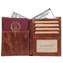 цены Men's Leather Passport Bag First Layer Leather Certificate Boarding Card Deck Card Credit Card Holder Female Passport Book