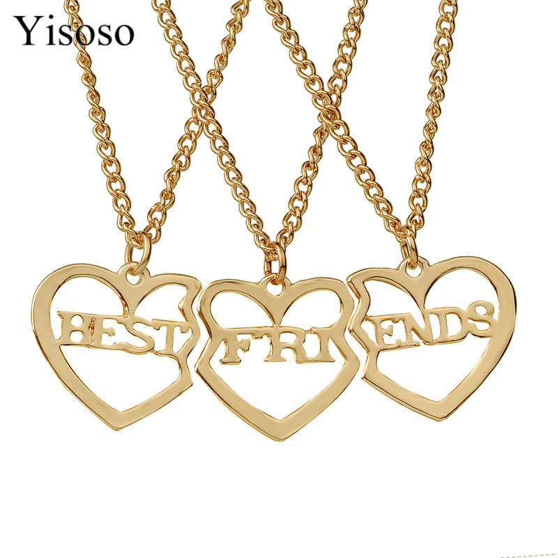 Yisosos 3 Pieces/Lot Letters Best Friend Jewelry Rose Gold/silver Color Love Pendant Necklaces Girlfriend Necklace XL010