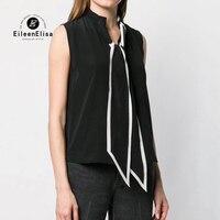 Мода галстук средства ухода за кожей шеи Блузки для малышек для женщин без рукавов Повседневная рубашка 2019 Лето 100 шелк женский блузк