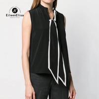 Fashion Tie Neck Blouses Women Sleeveless Casual Shirt 2019 Summer 100 Silk Female Blouse