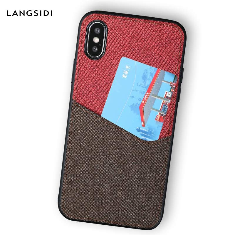 Canvas <font><b>360</b></font> full protective case for iphone X 11 11Pro 11 Pro Max XS XSMAX XR 6 <font><b>6s</b></font> 5 5s se 7 8 plus Magnetic Card Slot bag image