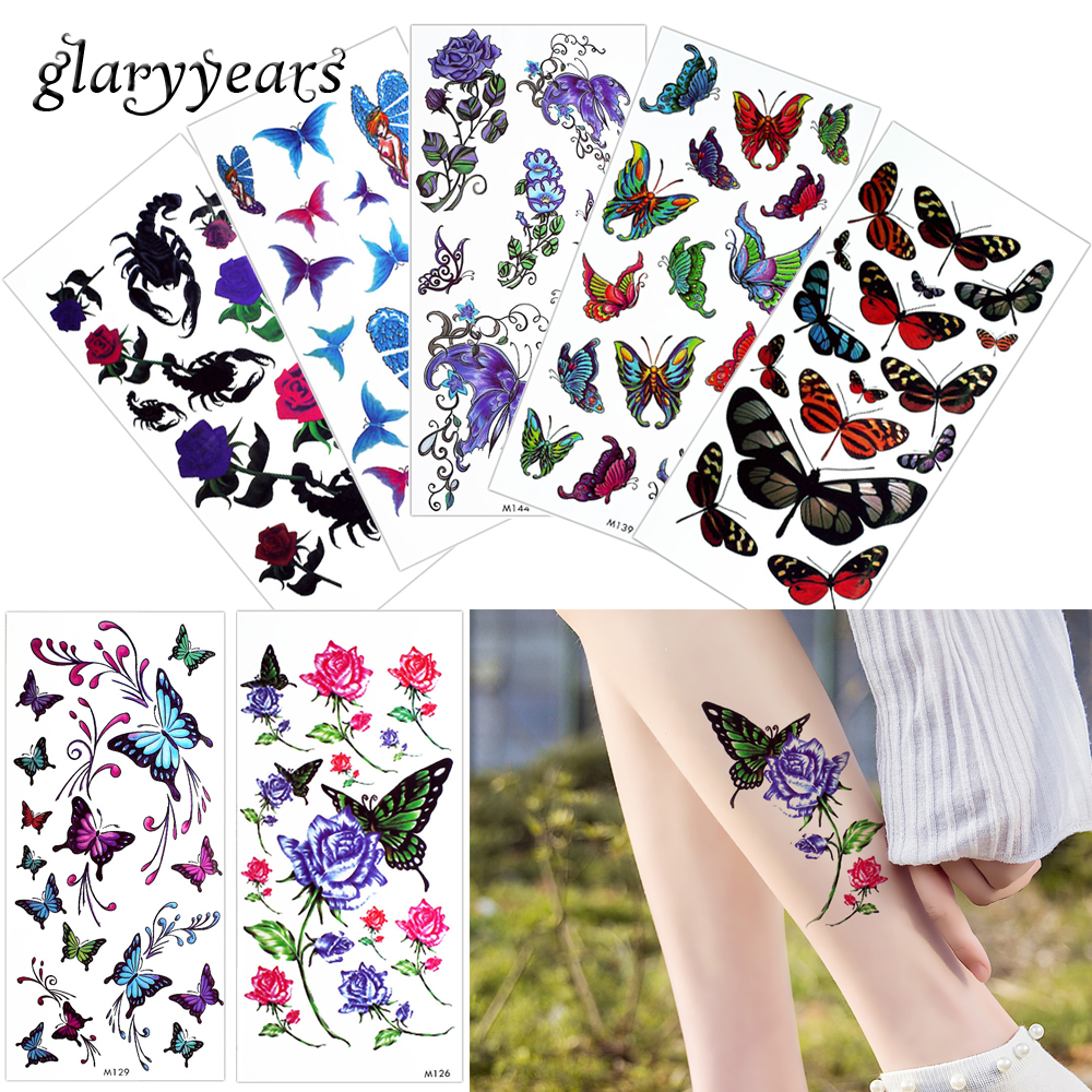 glaryyears 1 Sheet Blooming Flower Body Tattoo Sticker Temporary Lifelike Blooming Watercolor Drawing Butterfly Chest Art Tattoo ...