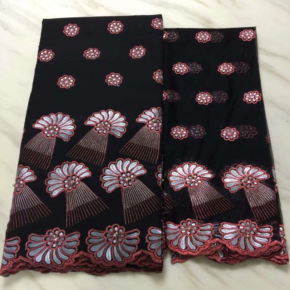 Latest African Lace Fabric Black and red Swiss Voile Lace High Quality Emboridery French Cotton Lace French Lace Fabric-in Lace from Home & Garden    1