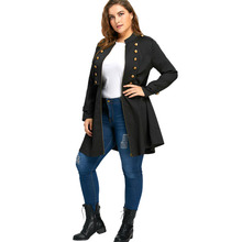 Windproof Plus Size Double Breasted Flare Jacket for Women
