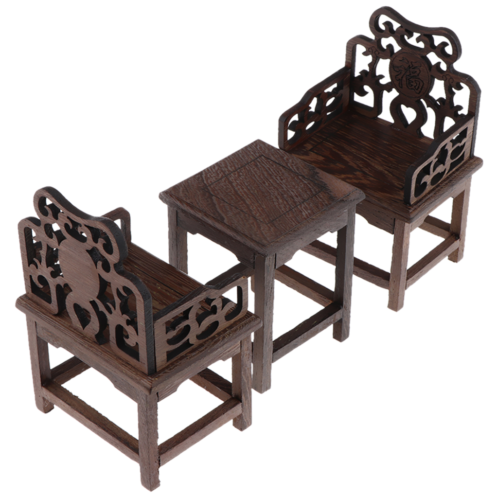 2pcs 1:6 Doll House Miniature Furniture Vintage Wooden Lounge Chair Armchair