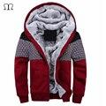 Europeu Moda Bombardeiro Dos Homens Espessamento Do Vintage Casaco de Lã Outono Inverno Designer Famosa Marca Masculina Slim Fit Brasão Quente 2016