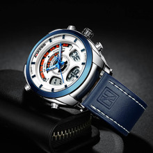цены 2019 New Arrival Sports Watches Men Leather Strap Dual Display Quartz Watches Luxury Brand Waterproof Military Relogio Masculino