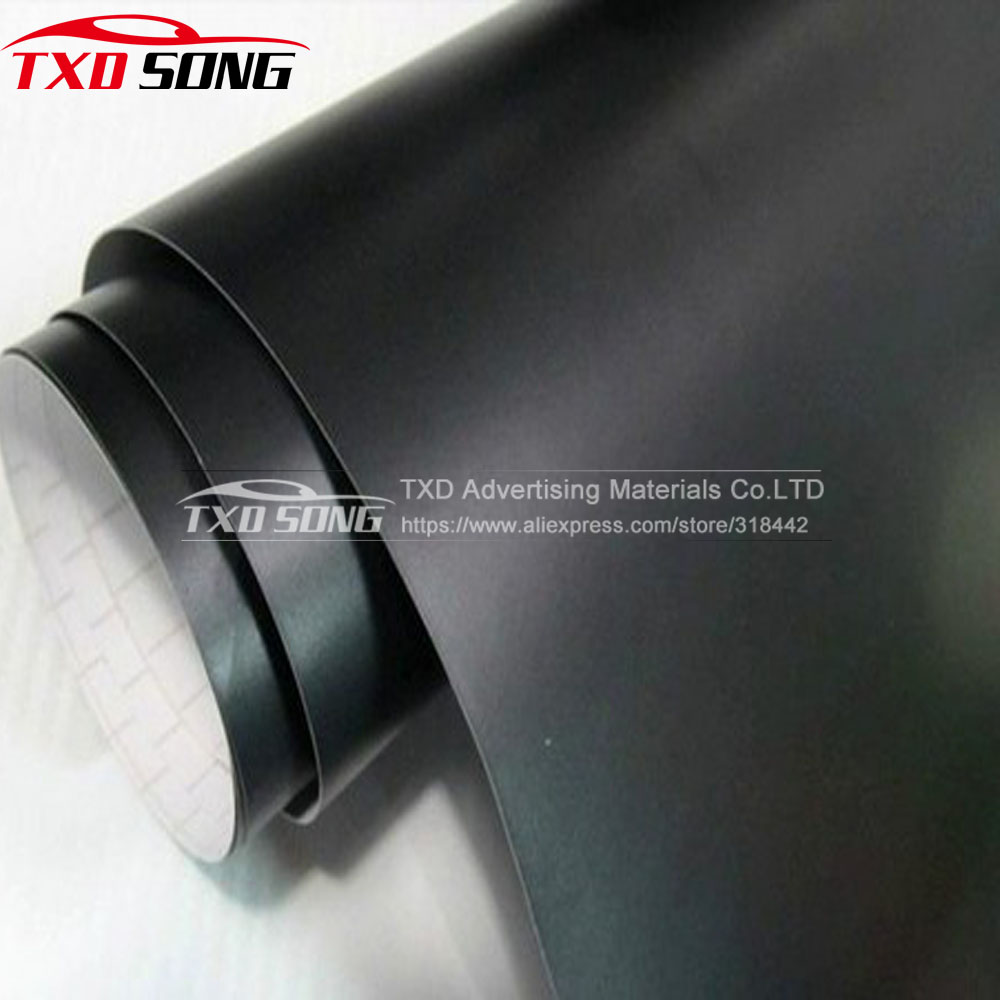 1.52*30 m/Roll autocollant de voiture noir mat de qualité supérieure film de vinyle noir mat avec bulles d'air film noir mat