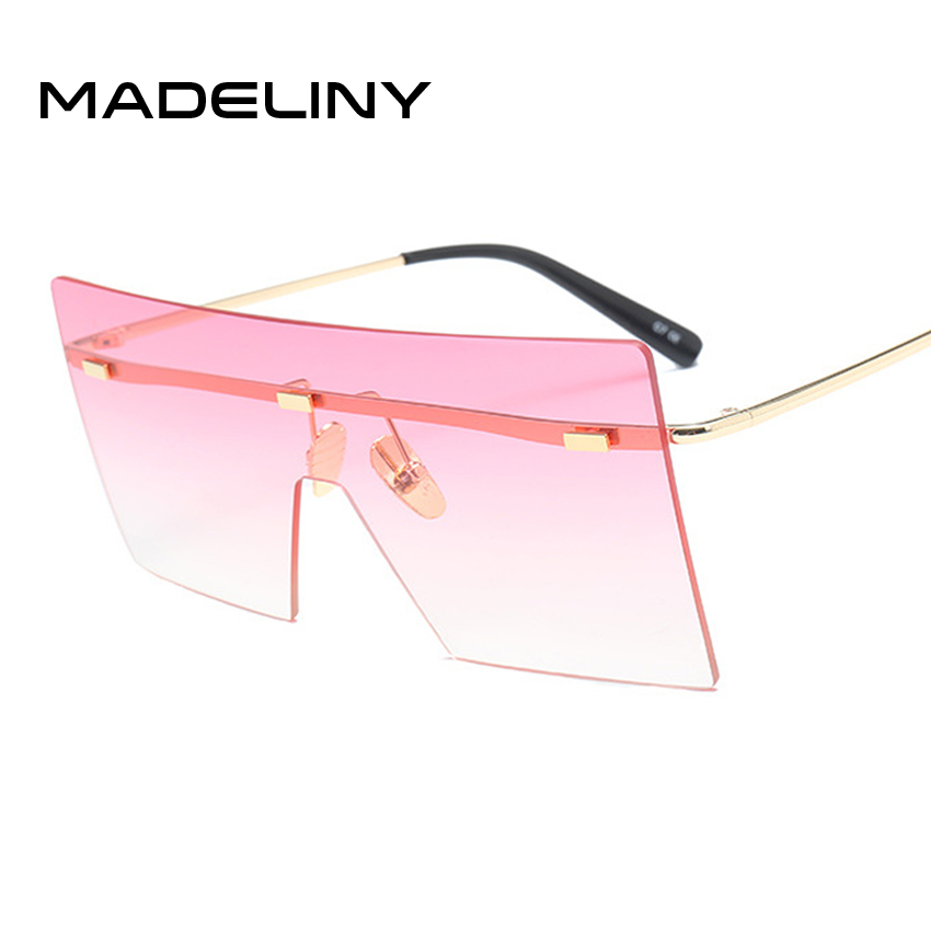 651d4f887f7 MADELINY Fashion Square Sunglasses Women Vintage Oversized Rimless Glasses  Mirror 2018 Brand .