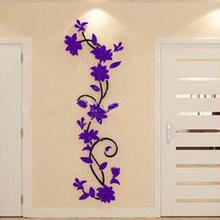 Pegatinas de pared de vid didizhou, decoración para el hogar, grandes flores de papel, pegatinas de dormitorio para sala de estar en papel pintado, calcomanías para el hogar Diy, decoración de pared(China)