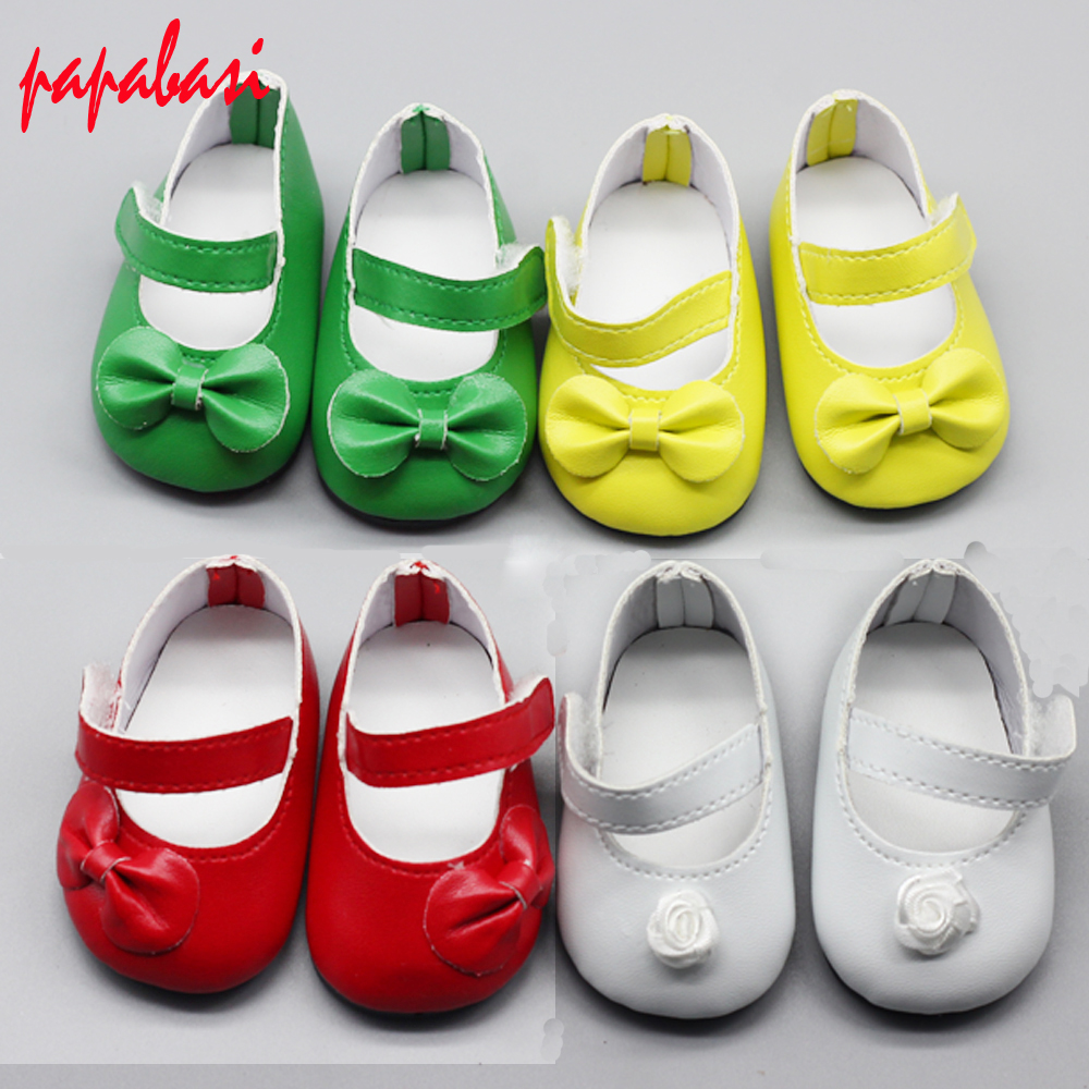 1pair of 7cm Doll Shoes Mini Leather Shoes with Bowknot as for 18 Inch 45cm American Girl doll  For Baby Reborn Doll Girl Gift