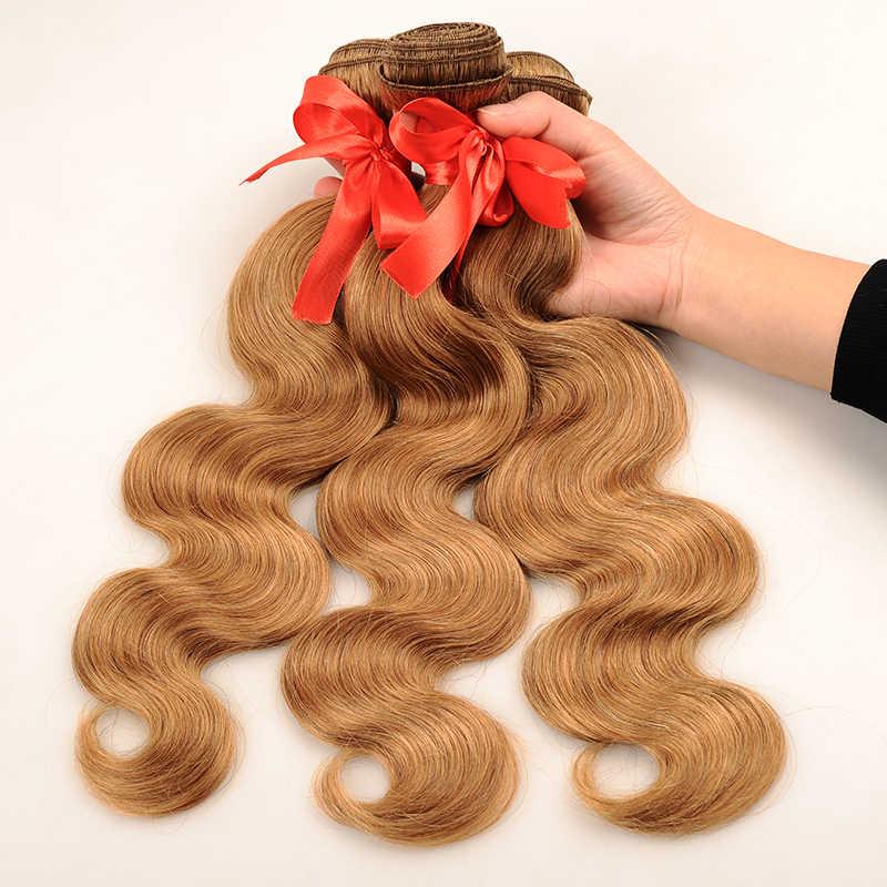 Pinshair Peruvian Hair 3 Bundles With Closure Honey Blonde #27 Colored Body Wave Human Hair Bundles With Closure No Shed Nonremy