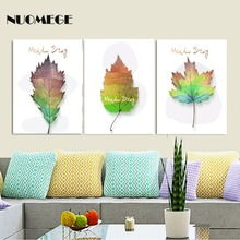 NUOMEGE Watercolor Leaves Wall Art Canvas Painting Green Plant Nordic Posters and Prints Decorative Picture Modern Home Decor