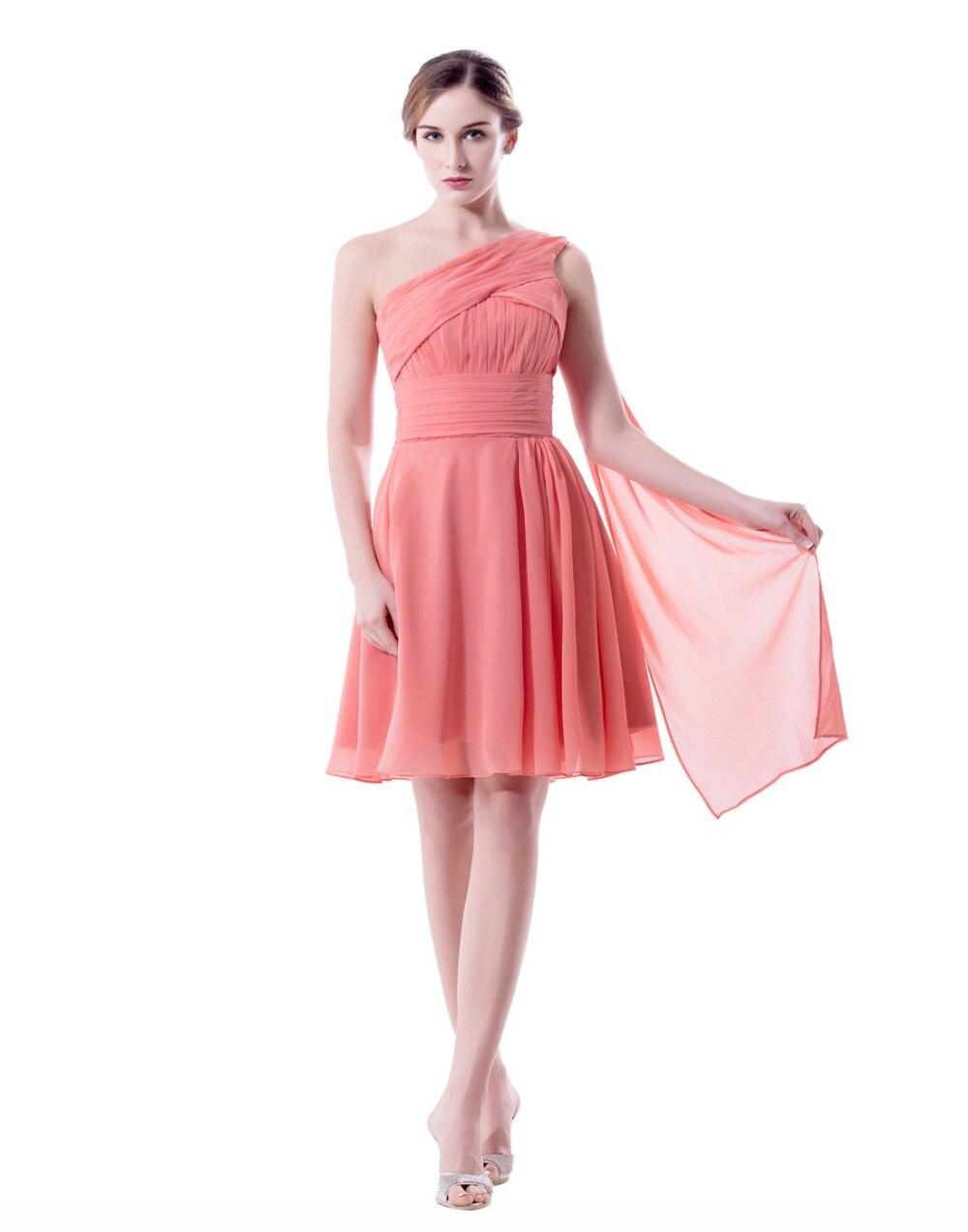 Estilo mixto diferente color coral vestidos de dama de honor corto ...