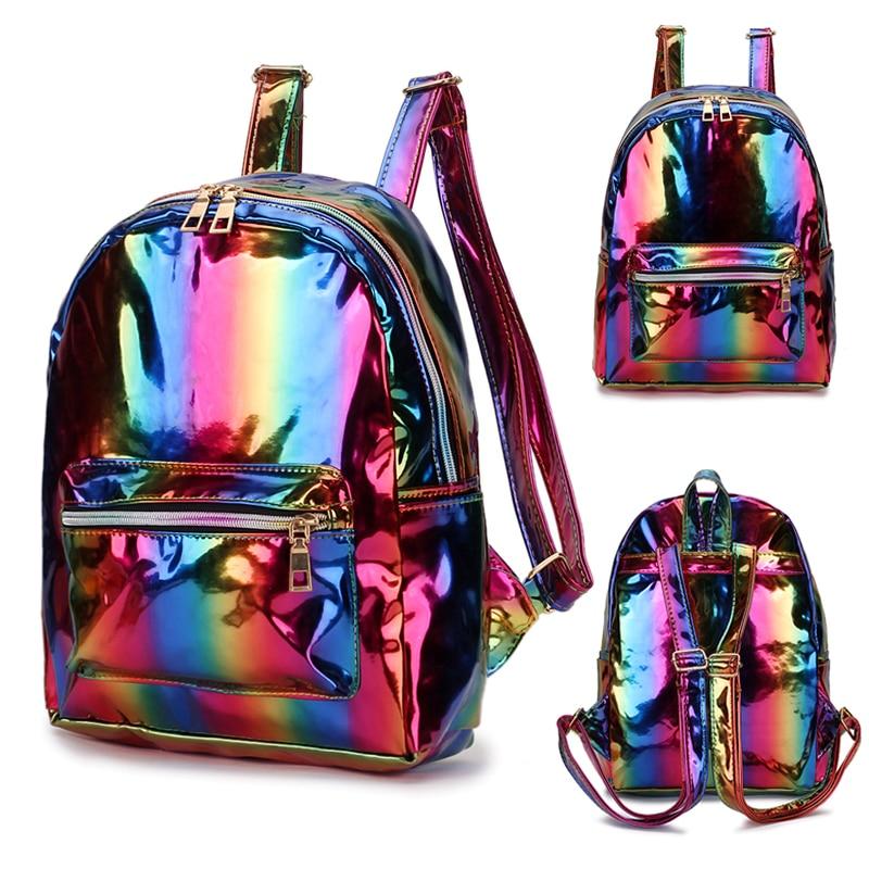 2019 Color Laser School Backpack For Girl Cool Design Mini Small Women Backpack Shoulder Bag Female Rucksack Bagpack Mochila
