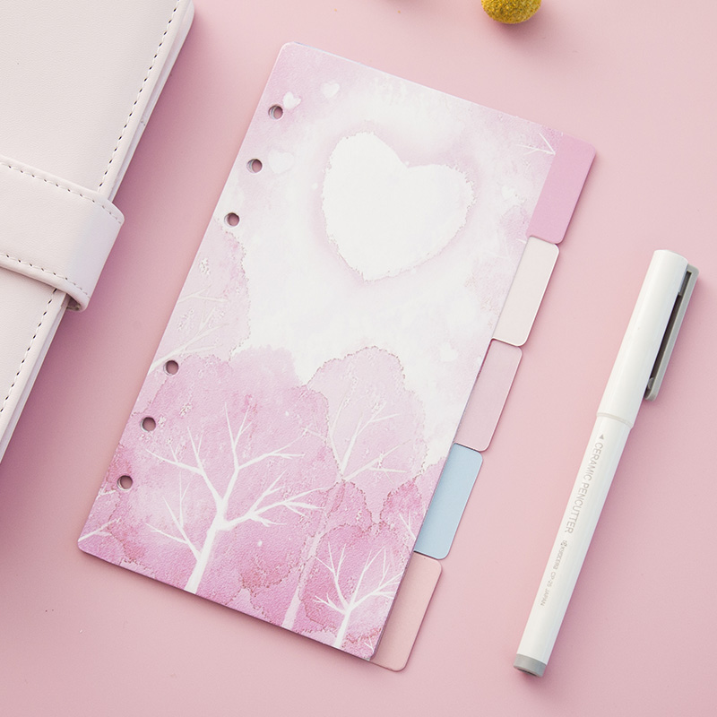 Yiwi 5 Sheets/Pack A5 A6 Loose Leaf Index Paper Category Page Sakura Separator Separation Divider Page for Notebook Islamabad