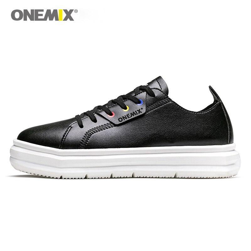 ONEMIX Для мужчин Скейтбординг обувь света холодный Женские кроссовки из мягкой кожи легкий дизайн открытый Мужская обувь прогулочная размер ...