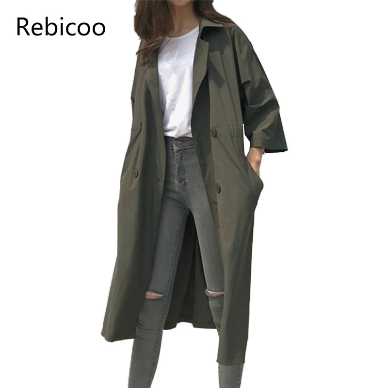 Fashion Double Breasted Long Trench Coat Women  Spring Autumn New Korean Solid Loose Casual Thin Windbreaker