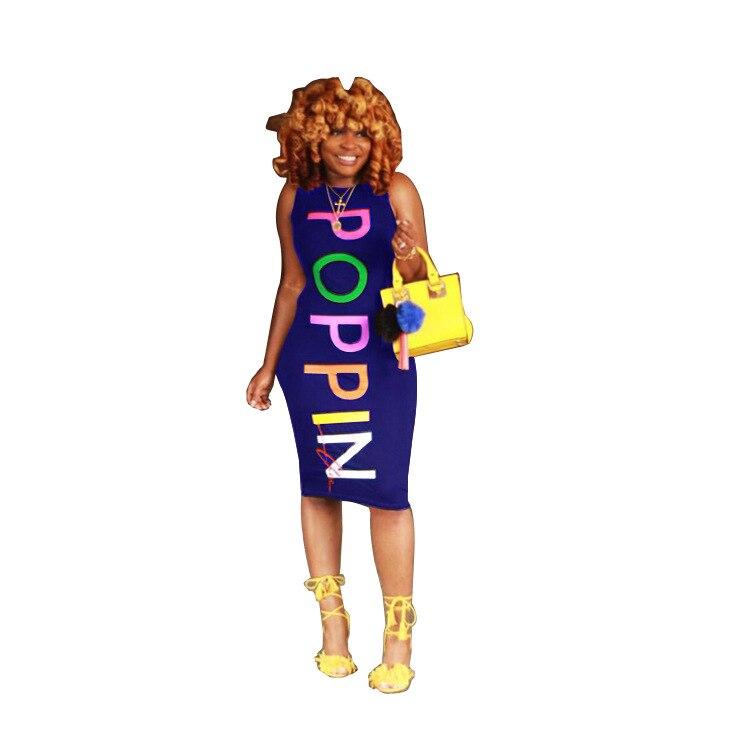 2018 New Autumn Fashion Women Dresses Letter POPPIN Sleeveless Bodycon Dress for Women