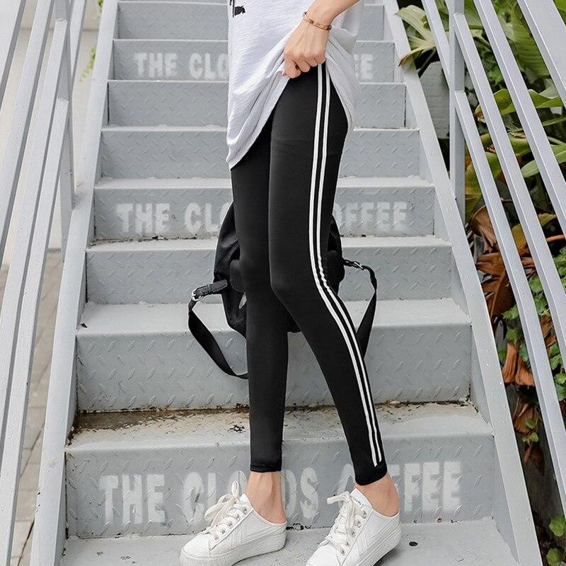 Women Skinny   Pants   Slim High Waist Elastic Striped   Pant   Femme Lady Trousers Fashion Pencil   Capris   2018 H9