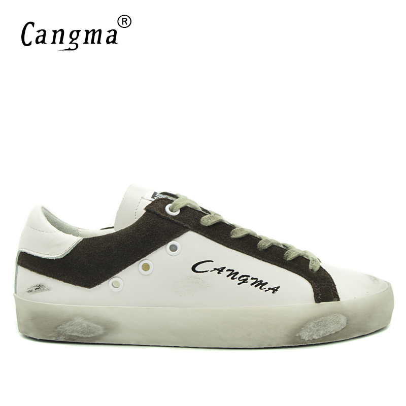 CANGMA Mens Trainers Brand Casual Shoes Cow Suede Stylish Man White Genuine Leather Lace Up Flats Platform Sneakers Male Shoes top brand high quality genuine leather casual men shoes cow suede comfortable loafers soft breathable shoes men flats warm