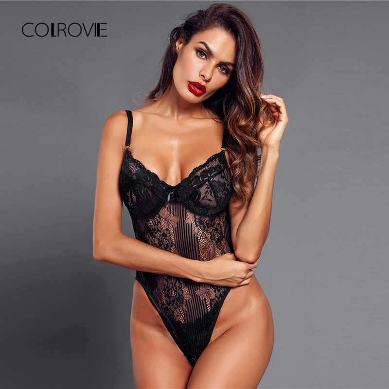 COLROVIE/черные однотонные сексуальные цветочные Кружевные Боди-боди, пижамы 2018, новые женские ночные рубашки с вырезами, женские ночные рубашки, ночное белье