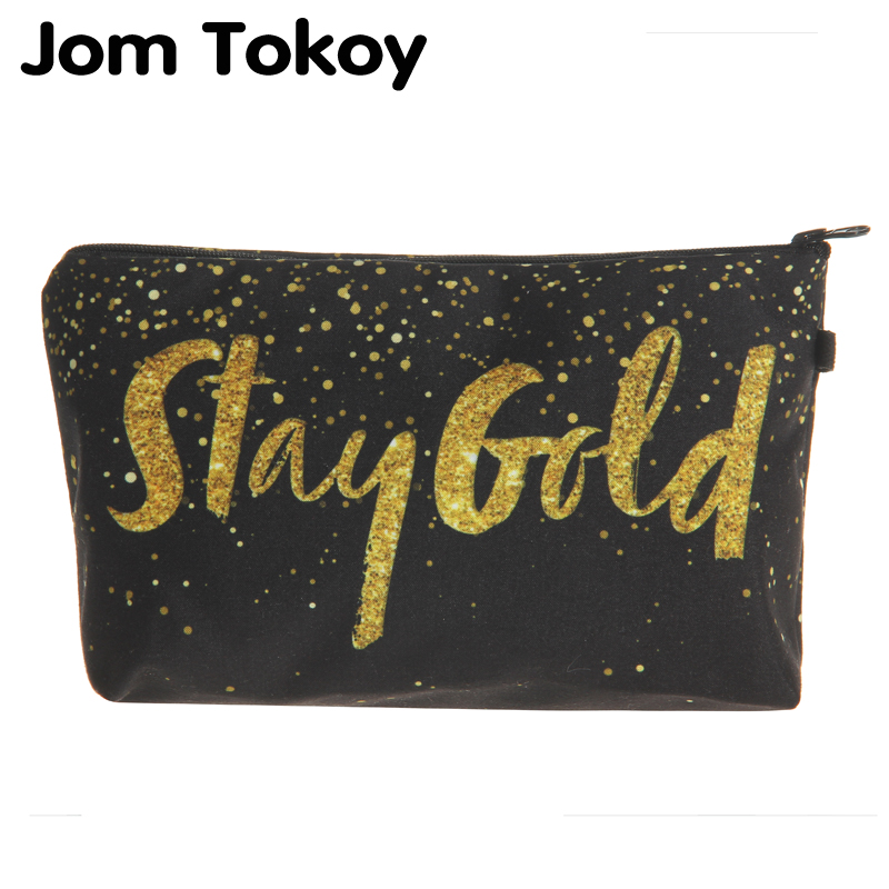 Jom Tokoy 2018 cosmetic organizer bag 3D Printing Golden alphabet makeup bag Fashion Women Brand Cosmetic Bag