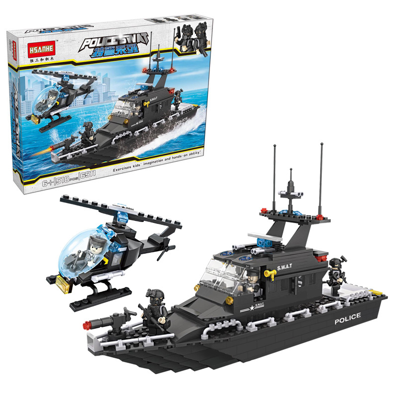 6511 HSANHE City Police SWAT Escort Boat Helicopter Model Building Blocks Enlighten Figure Toys For Children Compatible Legoe sweet years sy 6128ls 73
