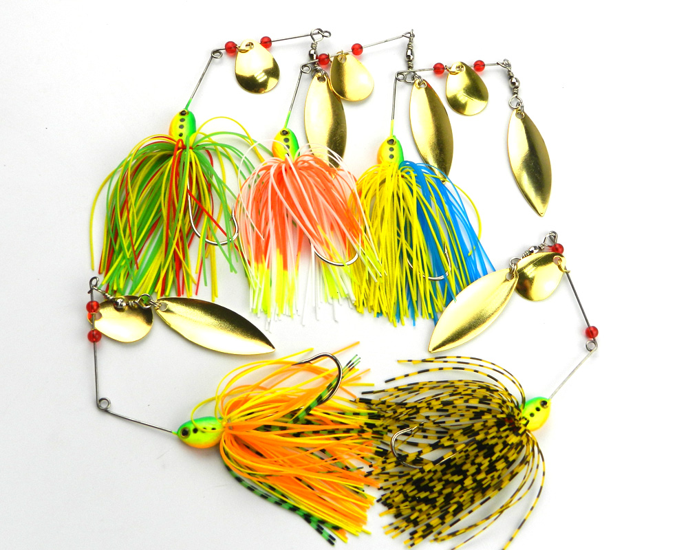 New 5pcs Fishing Spinner Lures Bass Crankbait Bait Tackle Crank Hook Spinner Spinnerbait Pike Bass 17G