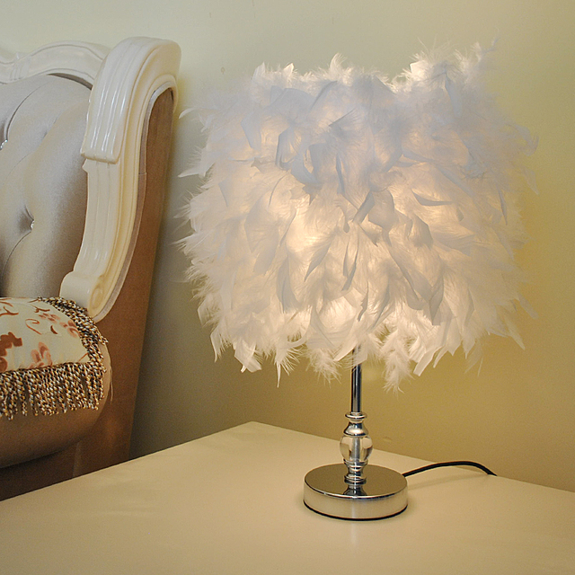 Wedding Birthday Gift Simple Study Bedroom Bed Anchor Crystal Feather Table  Lamp Dimming Feather Table Lamp