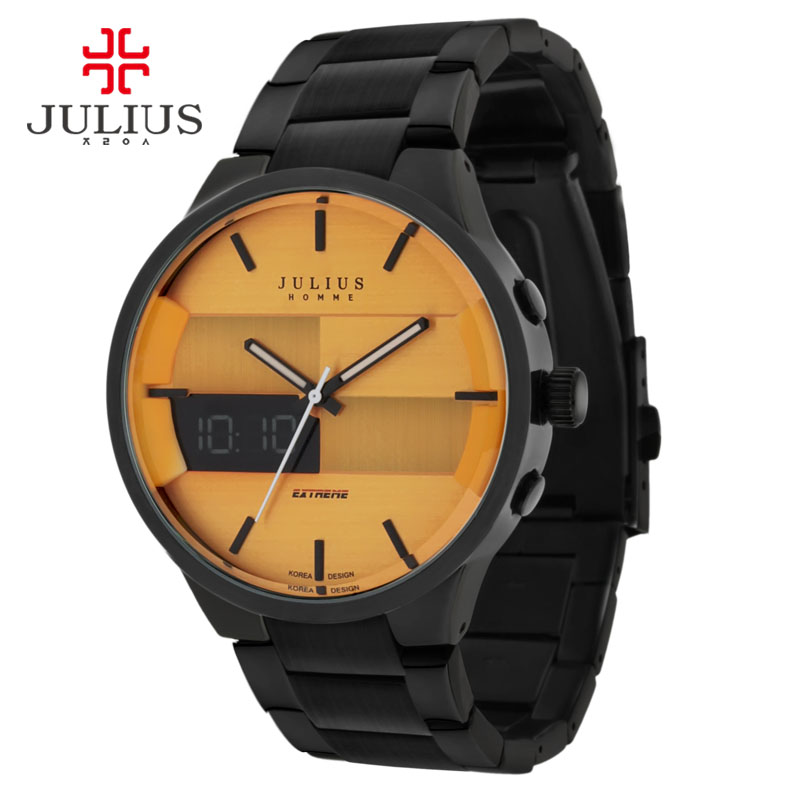 Julius Homme Brand Watches For Men Digital Wristwatch Full Steel Black Orange Whatch Clock Display Montre JAH-016 patrick w jordan how to make brilliant stuff that people love and make big money out of it