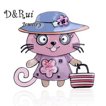 D&Rui Jewelry Cat Brooches & Pins Women Kids Brooch Fashion Classic Clothing Pin Cute Animal Handbag 2019 Hot Sale New
