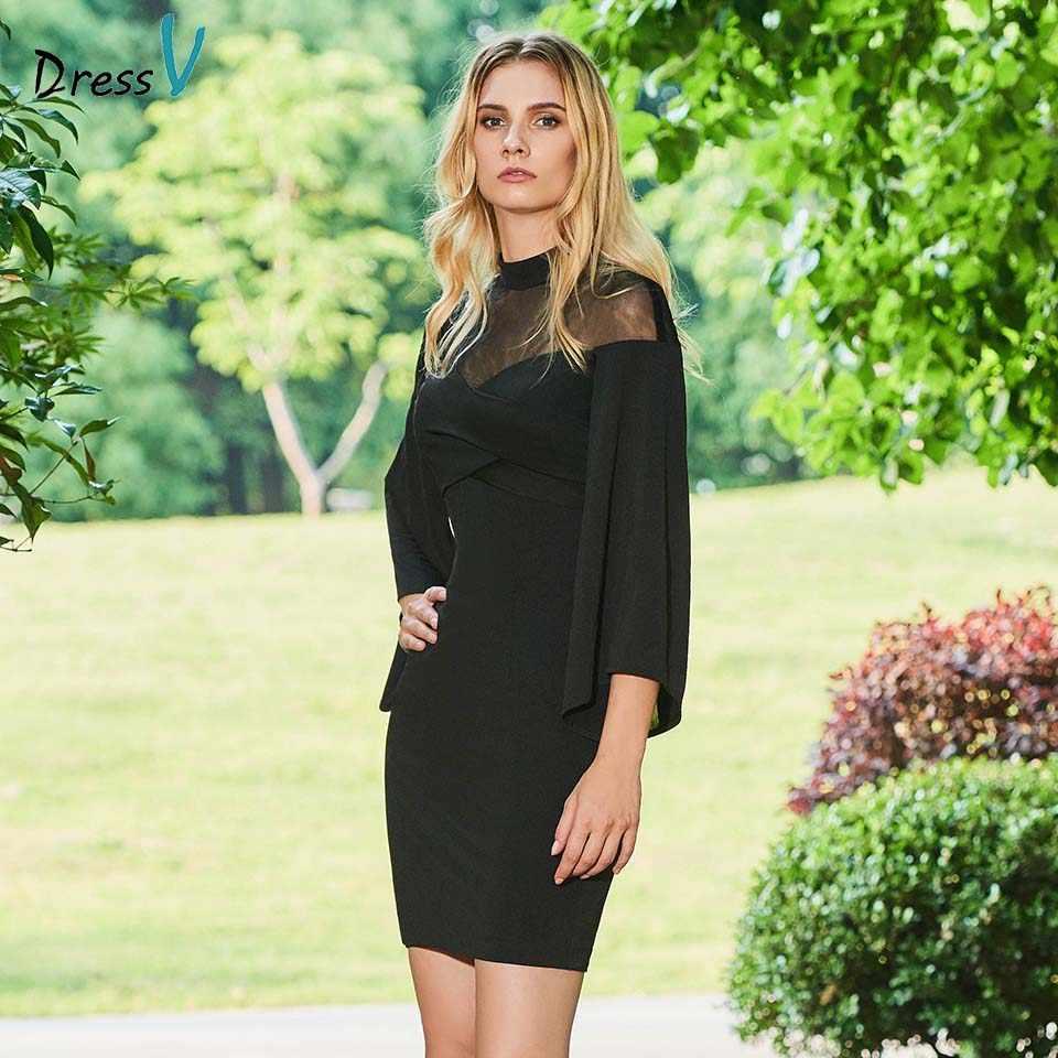 4289ba3cc64 Dressv черное коктейльное платье Элегантная Высокая шея 3 4 рукава оболочки  и пуговицы до колен