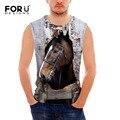 Forudesigns 2017 tanque dos homens quentes camisa do músculo clothing top homem do tanque de fitness 3d projeto do cavalo louco powerlifting motivacional coletes