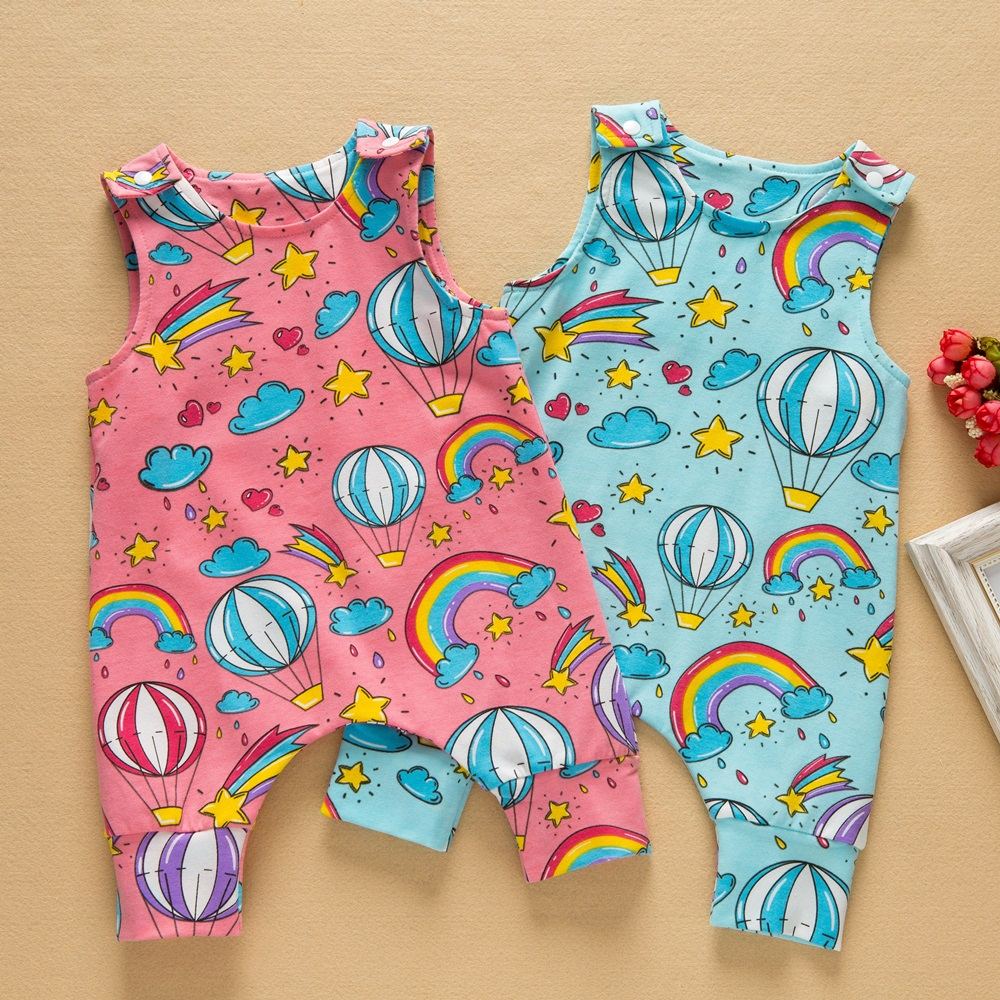 2018 New Baby Kids Fashion Newborn Kids Toddler Baby Girl Clothes Sleeveless Short   Romper   Rainbow Jumpsuit Playsuit Sunsuit