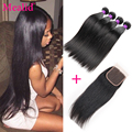 4 Bundles Brazilian Straight Hair With Closure 7a Brazilian Virgin Hair With Closure Brazilian Hair Weave Bundles With Closure