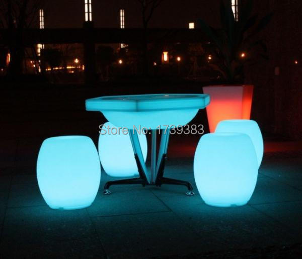 Rechargeable Remote control led light drum stools,plastic color changing waterproof led bar furniture