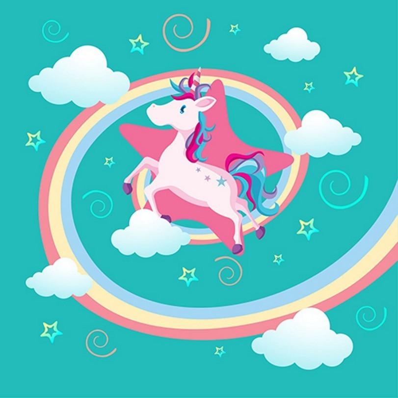 Star White Cloud Rainbow Unicorn Party Birthday Blue backdrop Vinyl cloth Computer printed wall photo studio background
