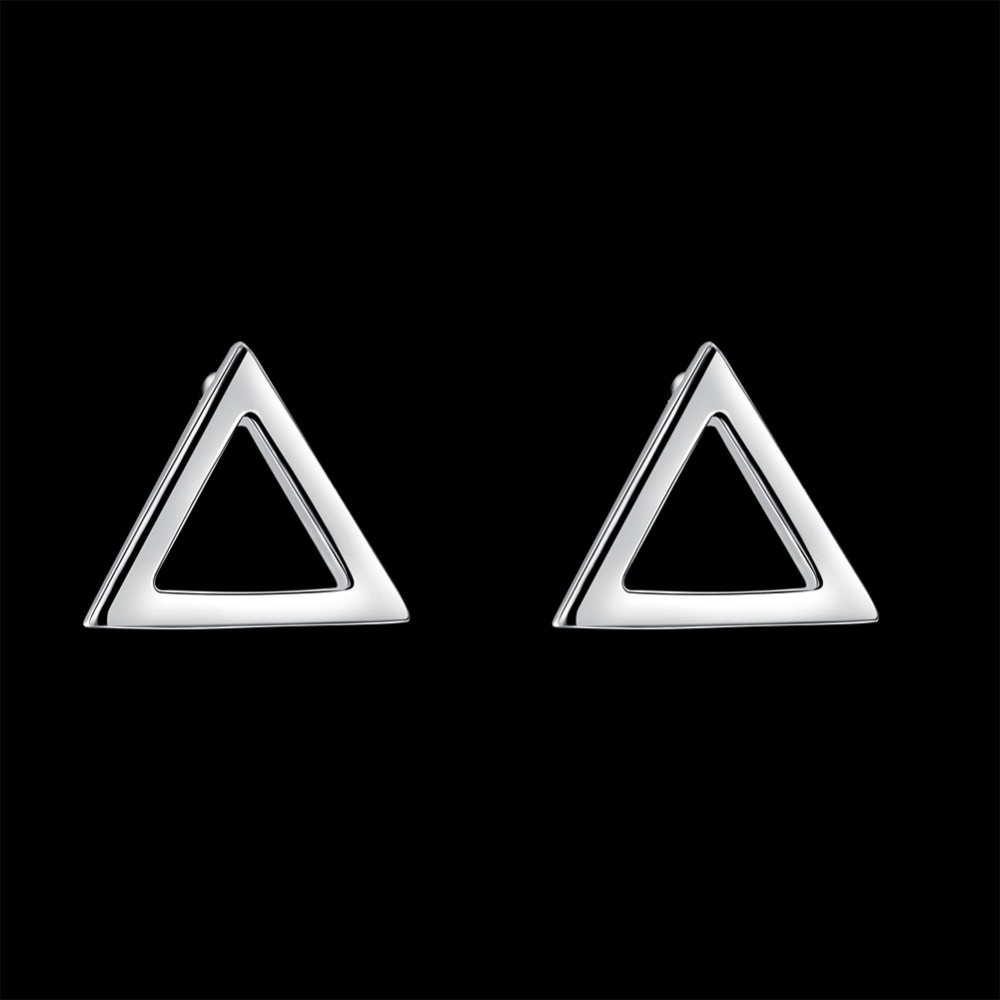 2017 m. Naujojo produkto reklaminė sidabro spalvos trikampio formos auskarų žavesio mada moterims, auskarai LKNSPCE921