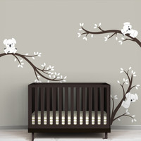 Oversize Removable Koala Tree Branches DIY Wall Decals Nursery Vinyls Baby Wall Art Stickers For Kids Rooms Custom Color D504