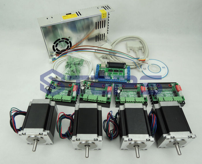 4 axis CNC kit ,nema23 3A 270 oz-in motor+ CNC 4 Axis TB6560 Stepper motor driver+one Power supply